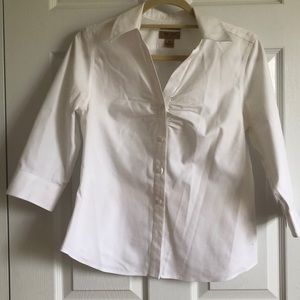 7e7b701545 Investments · Petite Non Iron White Button Up 3 4 Sleeve Ruched